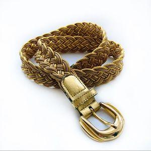 Vintage Woven Braided Decorative Gold Belt Sz M/L